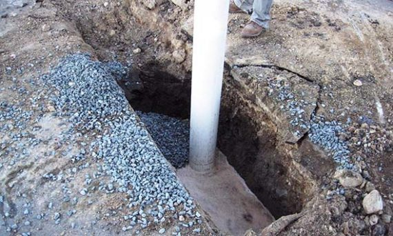 Oil is visible in this trench installed to recovery groundwater