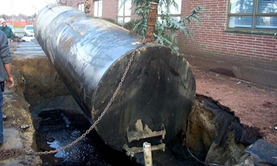Groundwater contamination is visible after removing this underground tank