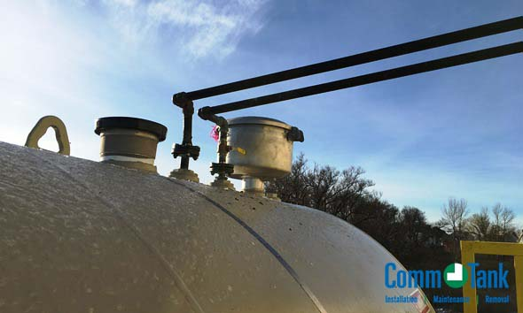 Supply and return piping for a aboveground tank that supplies a generator