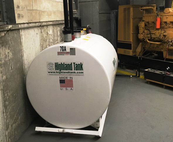 Highland storage tank connected to the buildings generator.