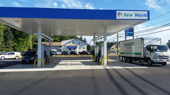 A photo of the completed gas station construction project
