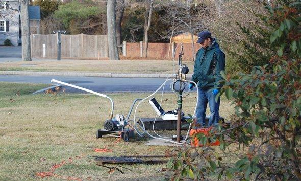 CommTank technician testing a UST in Newton Ma