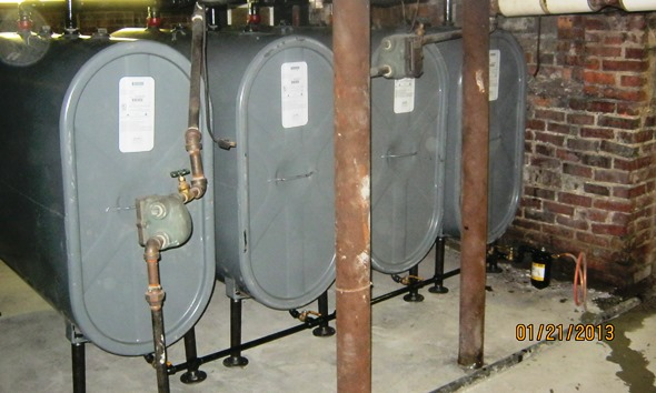 Four new 275-gallon Granby oil tank installed