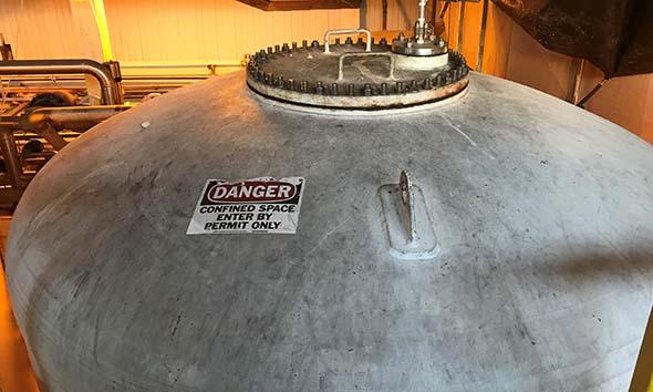 The manway of the leaking pressure vessel
