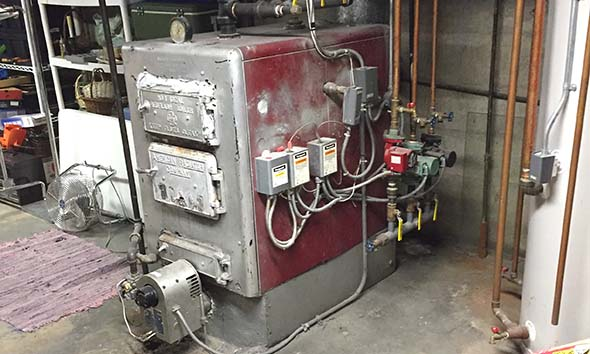 Large boiler located in basement