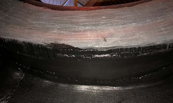 Example of rubber tank lining repair
