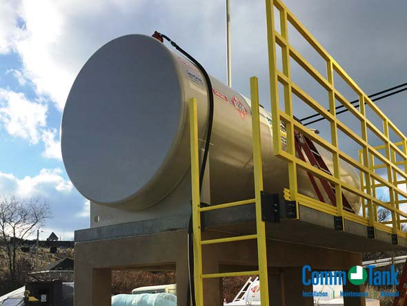 3,000-gallon Fireguard storage tank installed on a chainwall foundation