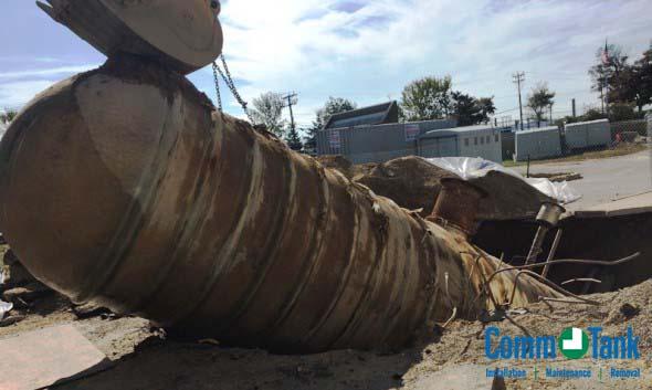 Removal of a 10,000-gallon fiberglass underground tank