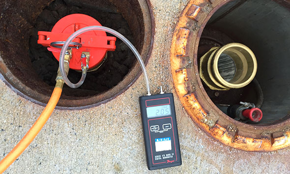 Photo of a storate tank overfill prevention valve pressure decay test.