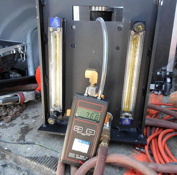 Photo of vacuum test on tank lines
