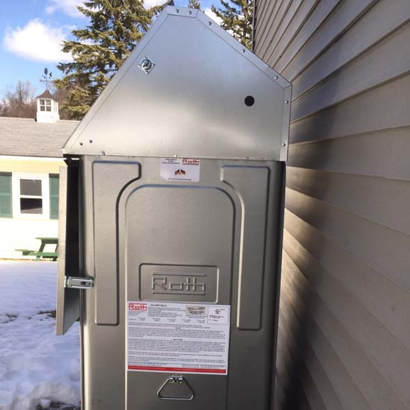 A new Roth oil tank is installed at this home in Auburn, Massachusetts.
