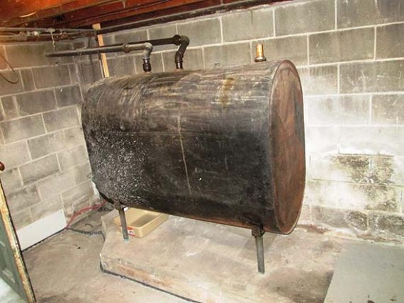 Photo of old basement oil tank
