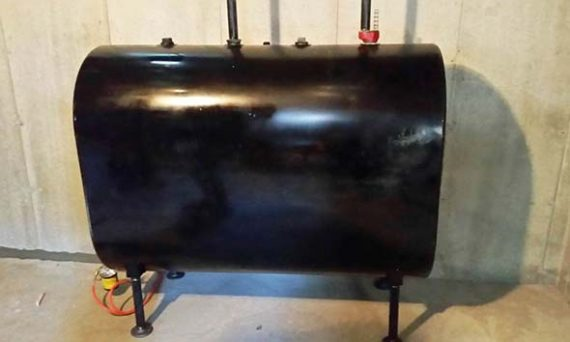 Side view of the new oil tank