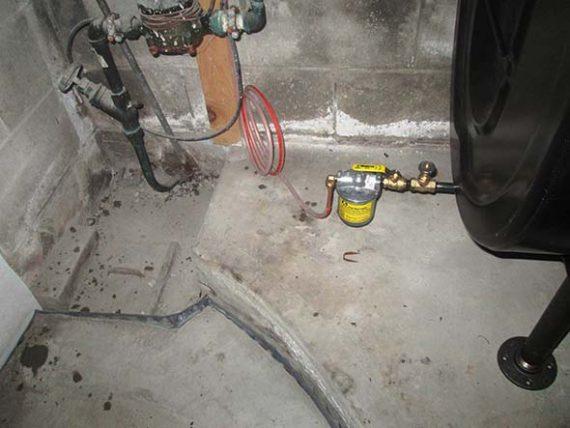 Oil tank filter in basement