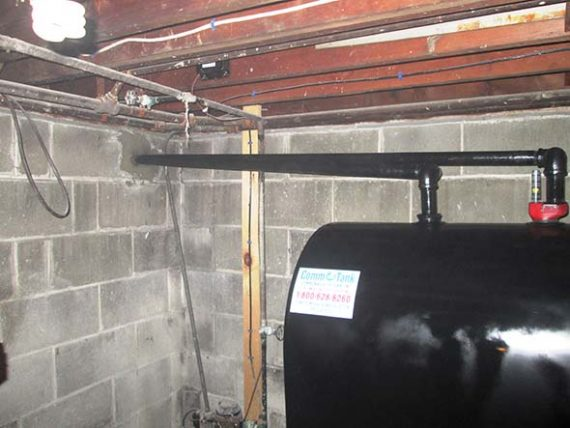 Vent and fill piping on new oil tank