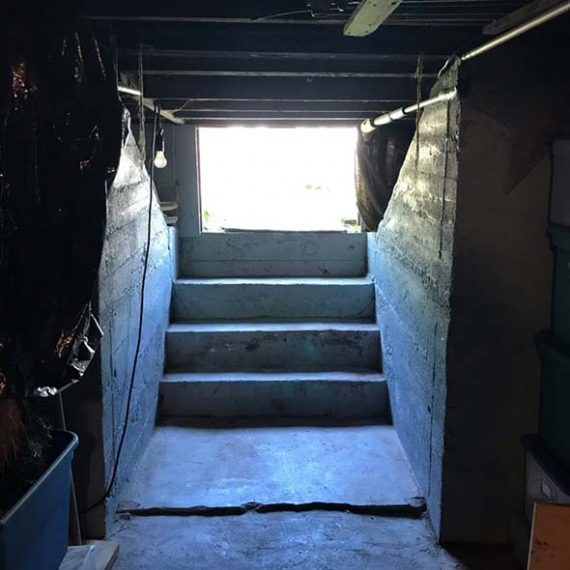 Narrow basement entrance