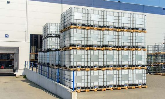 330-gallon IBC containers after compliance inspection