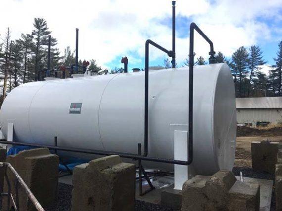 A triple compartment 16,000-gallon fuel storage tank
