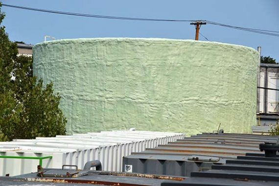 Completed coating over foam insulation
